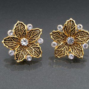 Gold Tone Floral Earrings with Rhinestones